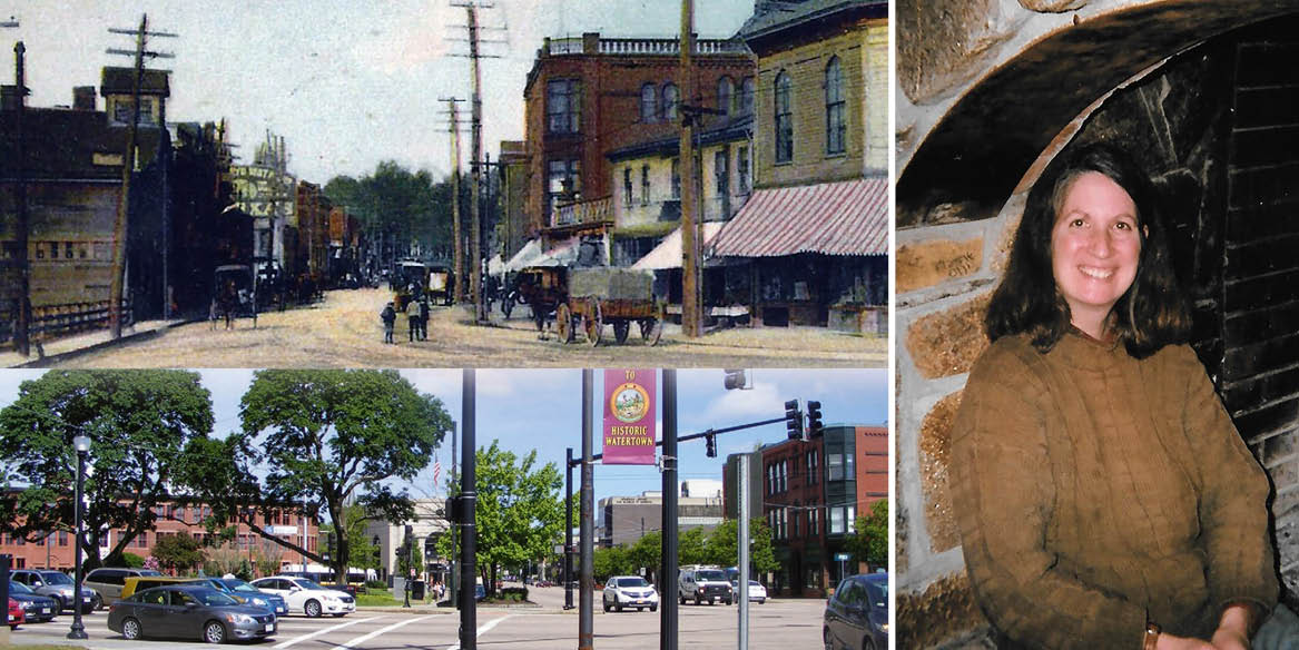 An image of Watertown Square several decades ago and one from present day. Another photo is of Cara