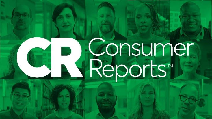 Consumer Reports logo in white with ten faces of people in the background.