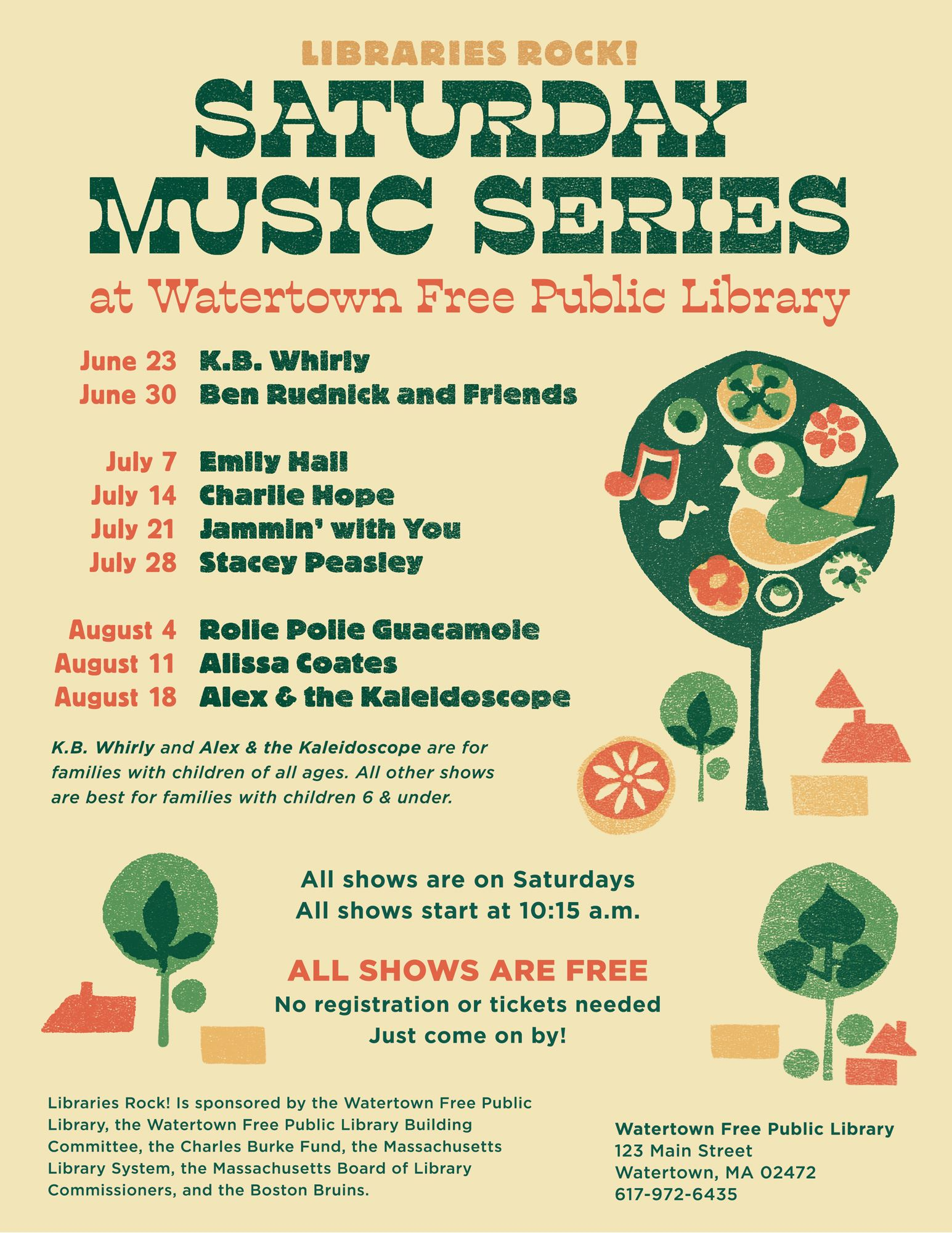 Saturday Music Series at Watertown Free Public Library. All shows start at 10:15 a.m. from June 23 u
