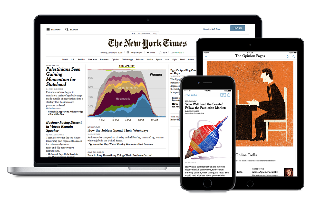 The New York Times website on a computer, ipad, and smart phone