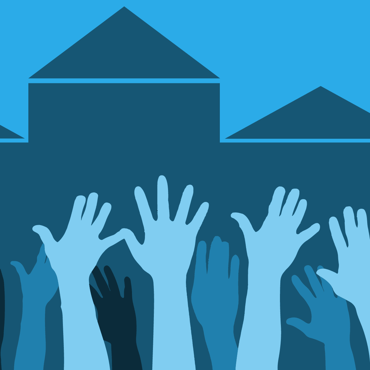 raised hands by municipal buildings