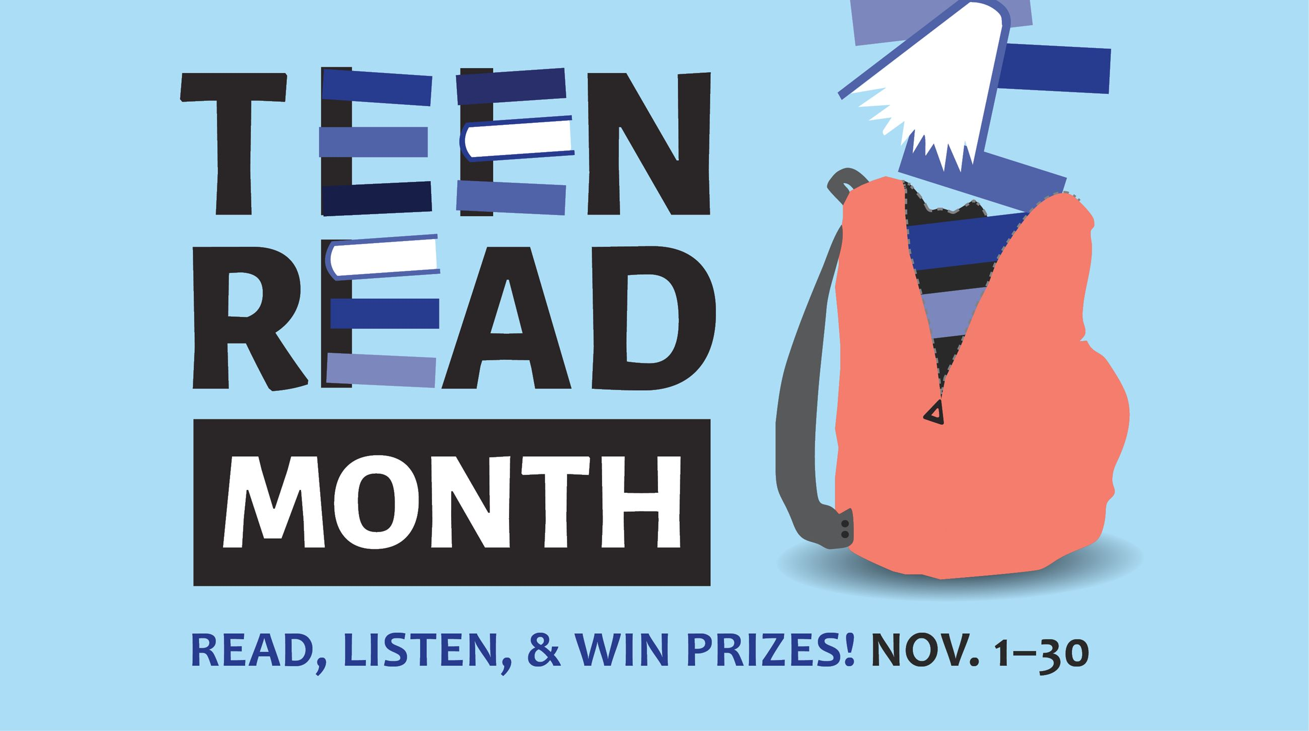 Banner for November 2019, Teen Read Month, shows a backpack full of books.