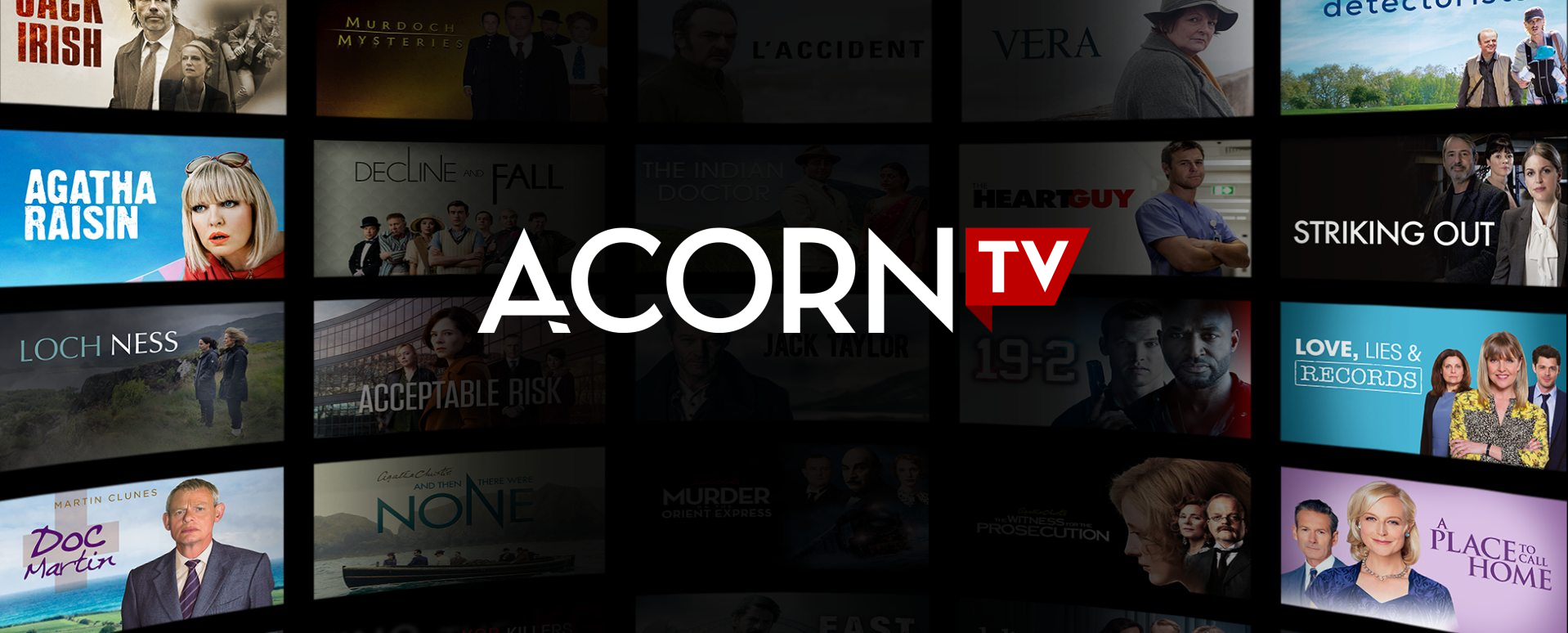 Acorn TV logo with blue background.