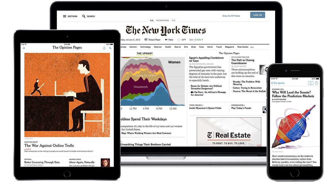 Image showing three different screens with NY Times Homepage Opens in new window