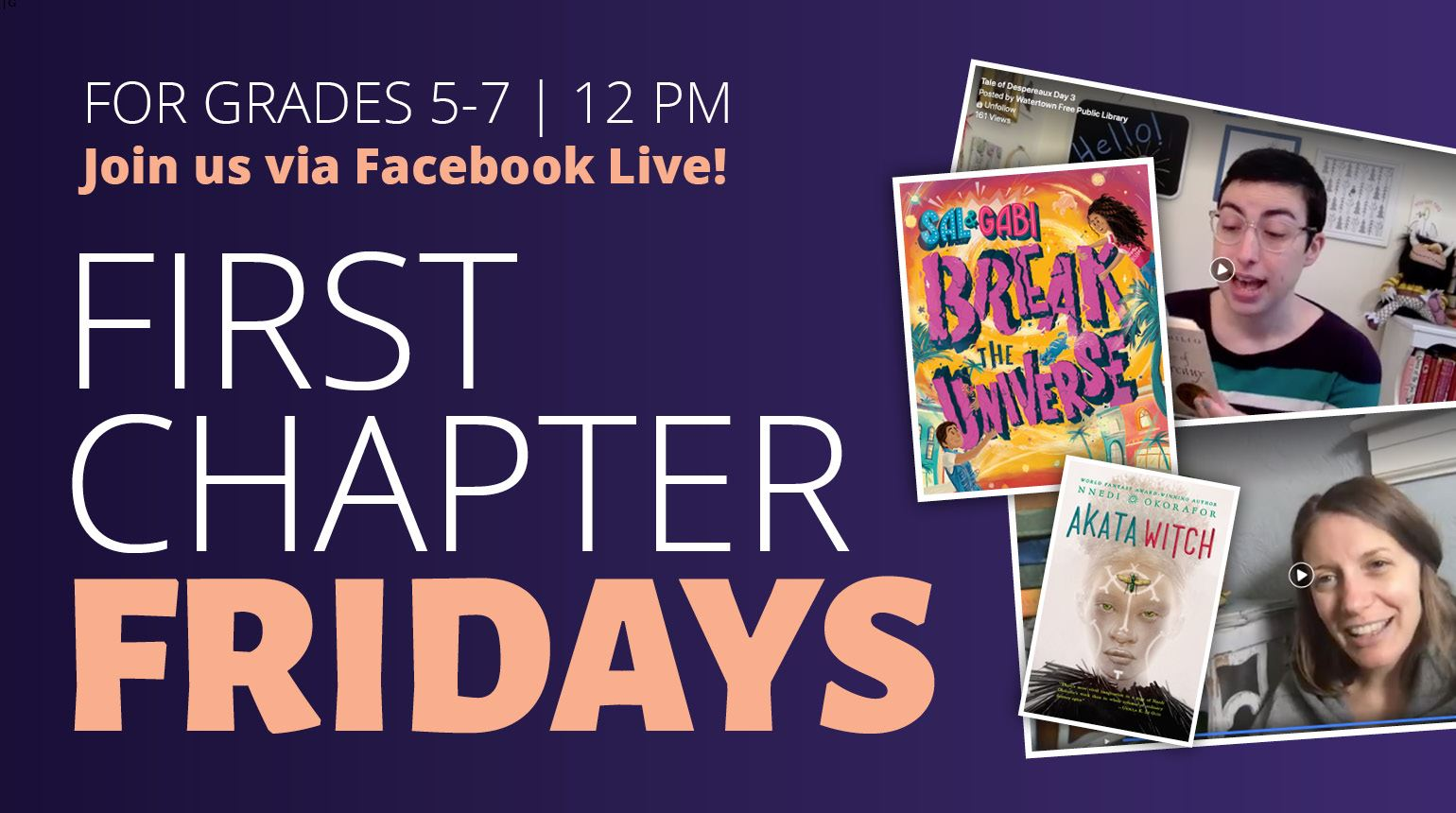 "Banner with the text, ""First Chapter Fridays: Via Facebook Live"""