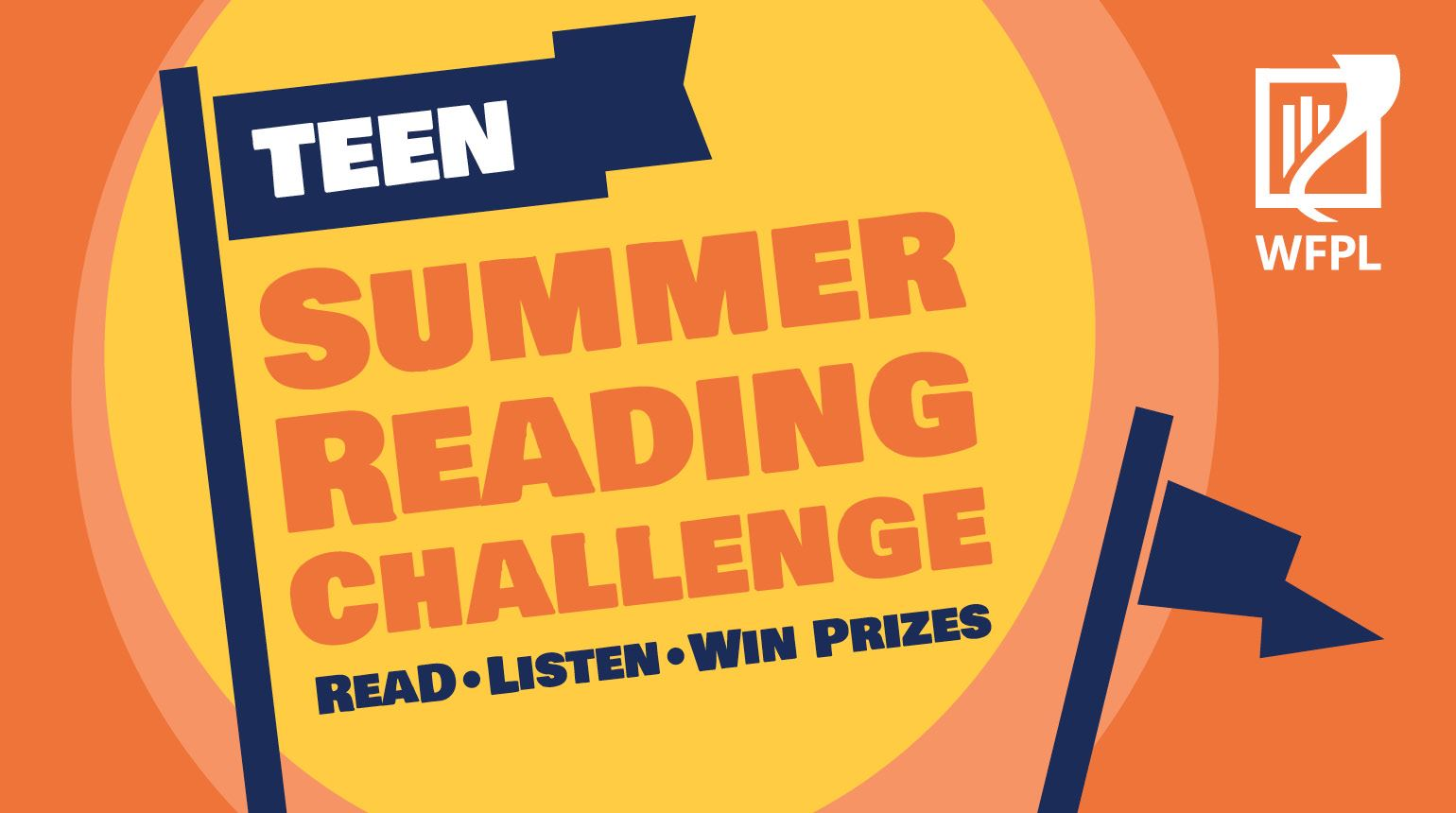 "Banner with the text, ""Teen Summer Reading Challenge: Read. Listen. Win Prizes"""