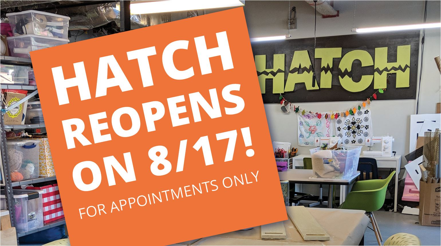 "Banner with the text, ""Hatch reopens on 8/17!"""