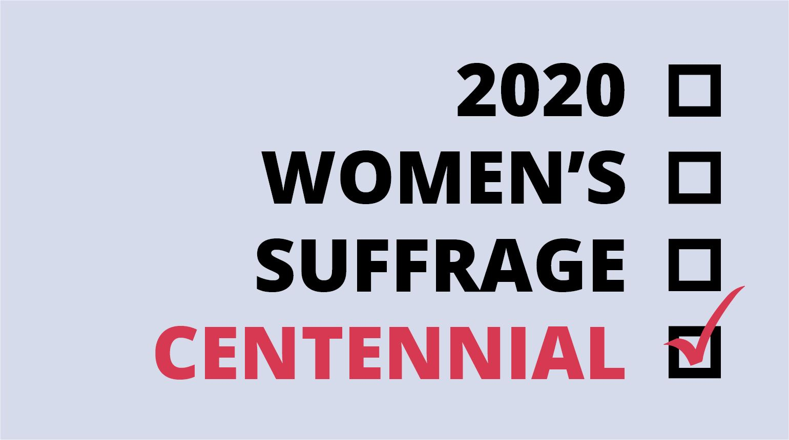 Banner with the text, 񓠄 Women's Suffrage Centennial""