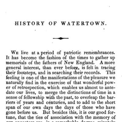 An historical sketch of Watertown